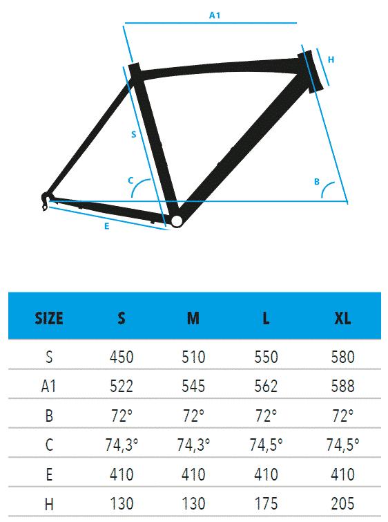"R1225-RIGEL-Shimano-105-Mix-measurements Vektor ποδήλατο Κούρσα 28"" S1225 - RIGEL - Shimano 105 Mix"