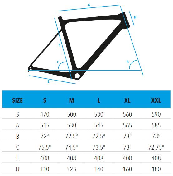 "R2930-ATHOM-Shimano-105-measurements Vektor ποδήλατο Κούρσα 28"" Carbon S2930 - ATHOM - Shimano 105"